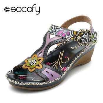Zapatos De Mujer A Socofy Hechas Cuero Sandalias Mano Bohemias UVGSzpqM