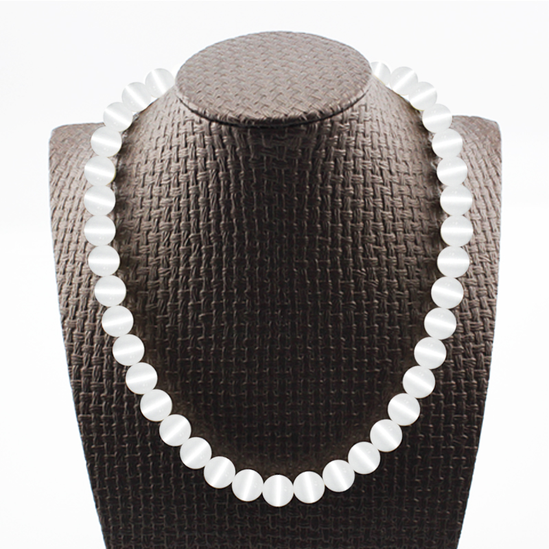 Exclusive Quality Natural White Opal 8mm Beads Bohemian Style Buddha Necklaces & Pendants Long Women Chain Necklace