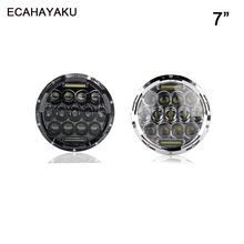 ECAHAYAKU Led Headlight driving lamp 7 Inch 75W Round Bulb High or Low beam waterproof for Motorcycle Jeep JK Land Rover Harley herorider 75w 7 headlight motorcycle black high low beam 7inch round daymaker led head light head lamp drl for harley davidson