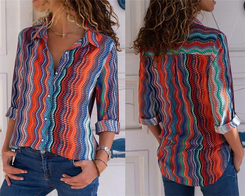 Women Blouses Fashion Long Sleeve Turn Down Collar Office Shirt Leisure Blouse Shirt Casual Tops 53