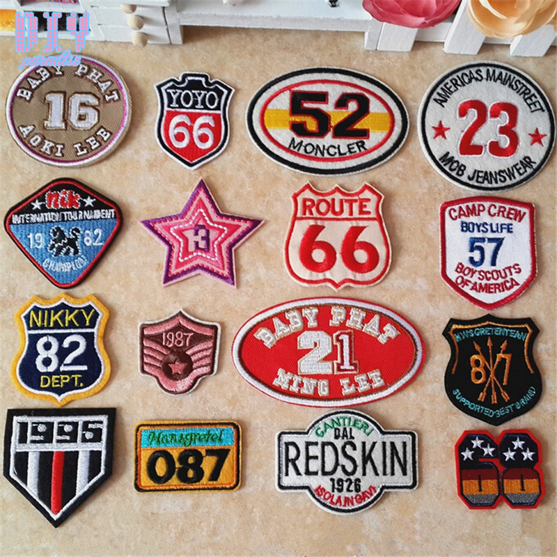 48pcs cartoon number embroidered sew iron on patches diy alphabet letter cloth applique badge fabric apparel