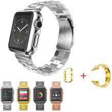 New 316L Stainless Steel Strap bands Classic Buckle Watchbands for Apple Watch with Protective Case