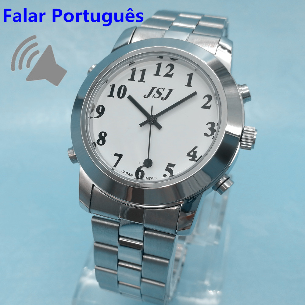 Portuguese Talking Watch Falar Portugues For Blind People or Visually Impaired Quartz Alarm Watch