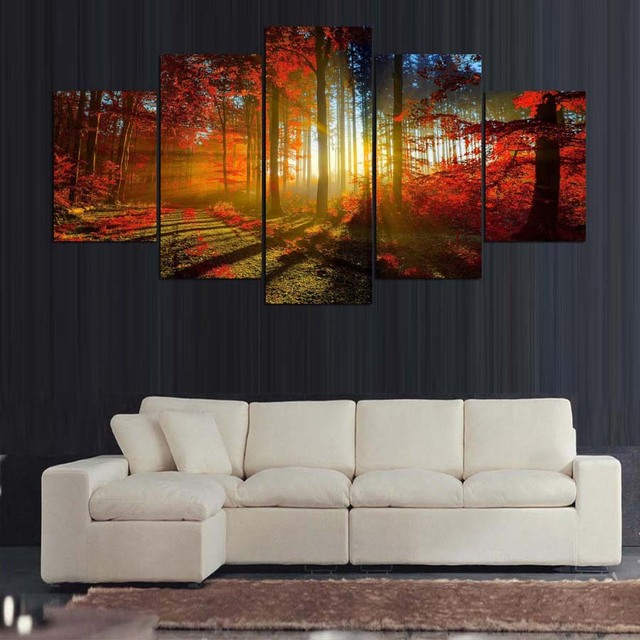 HD In 5 Bảng Điều Chỉnh Canvas Art Rừng Tranh Canvas In Ấn Tường Hình Ảnh Living Room Trang Trí Nội Thất Miễn Phí Vận Chuyển