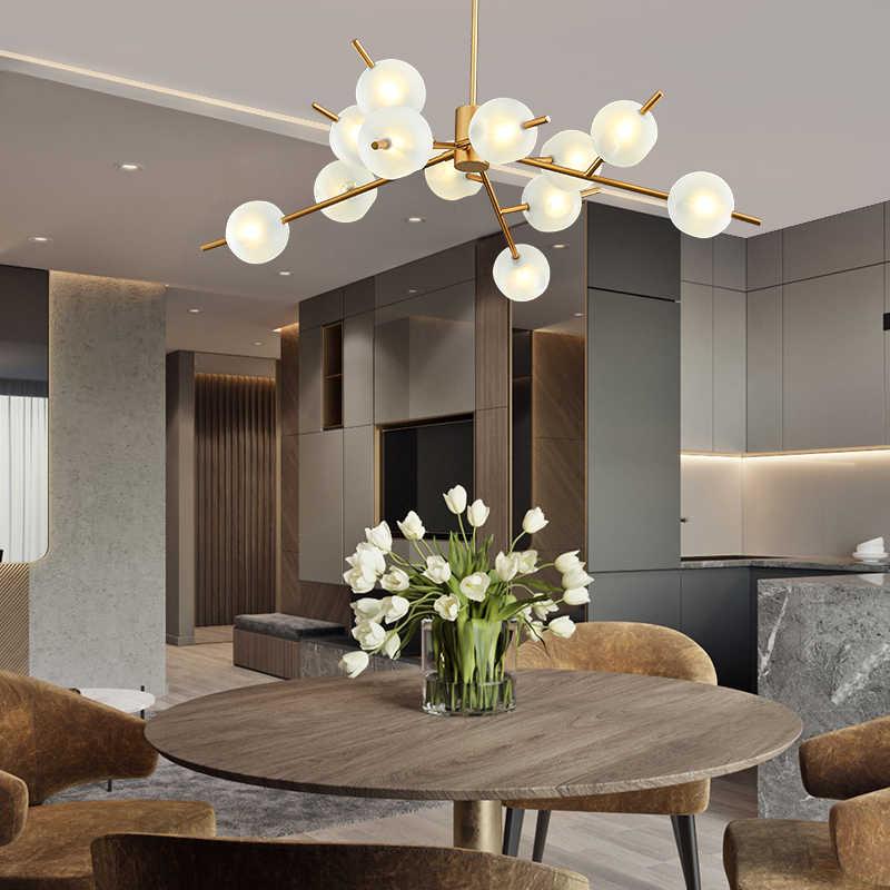Дизайнер молекулярная светодиодный светильник-Люстра стекло творческая личность для гостиная спальня Ресторан Magic светильник в форме бобов