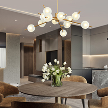 Designer Molecular LED Chandelier Lights Glass Creative Personality for Living Room Bedroom Restaurant Magic Bean Lamp