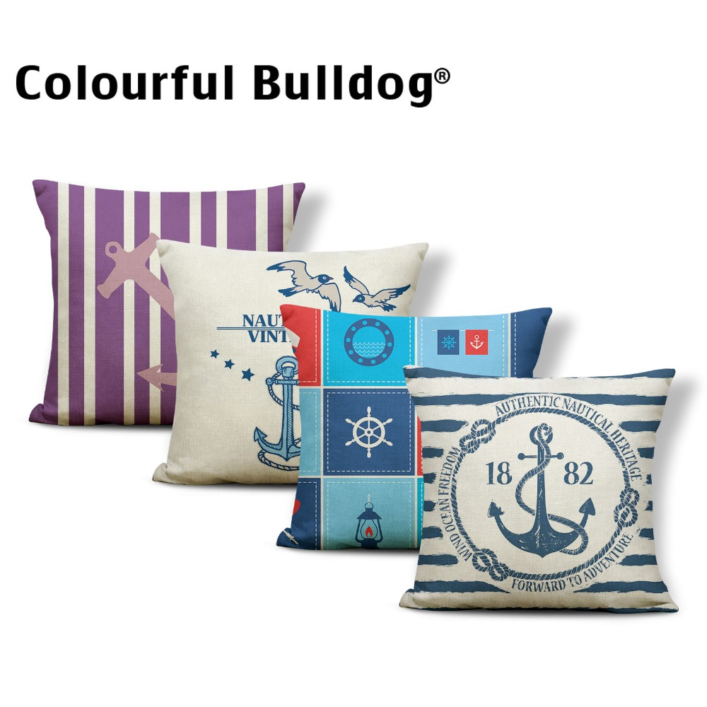 Ocean Cushion Cover Anchor Pillow Cushions Geometry Rock Garden Dog Lovers Gifts Throw Pillow Cover 45X45Cm Cotton Blend Fashion