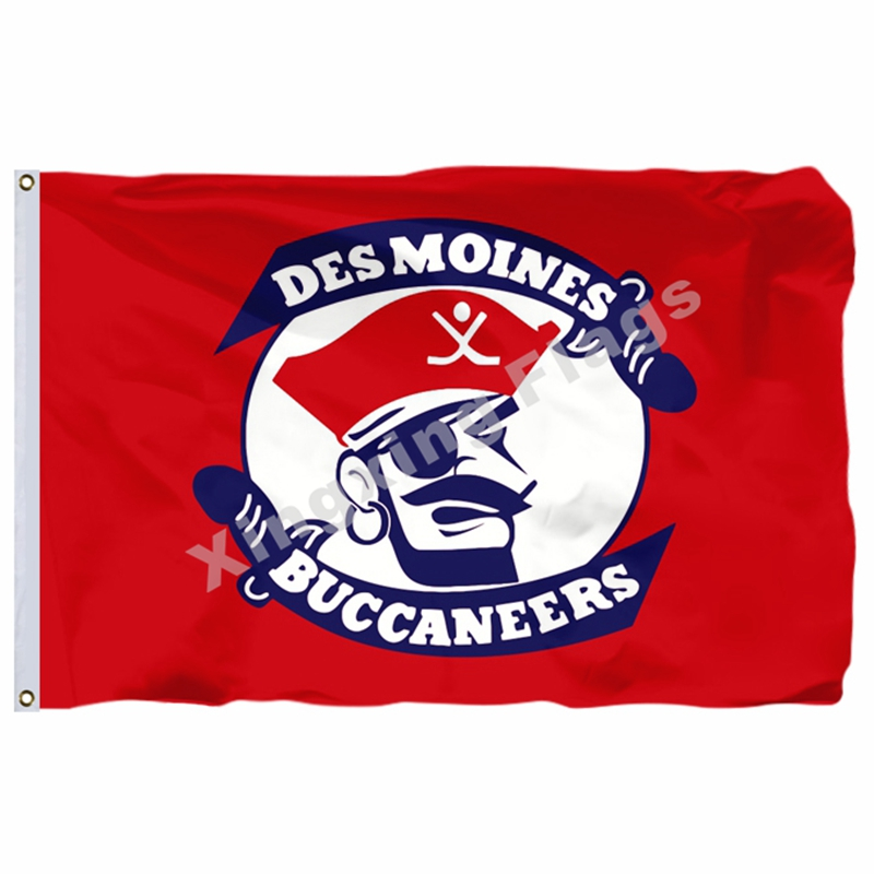 Des Moines Buccaneers Flag 3ft X 5ft Polyester United States Hockey League USHL Banner Size 4 144* 96cm Custom Flag