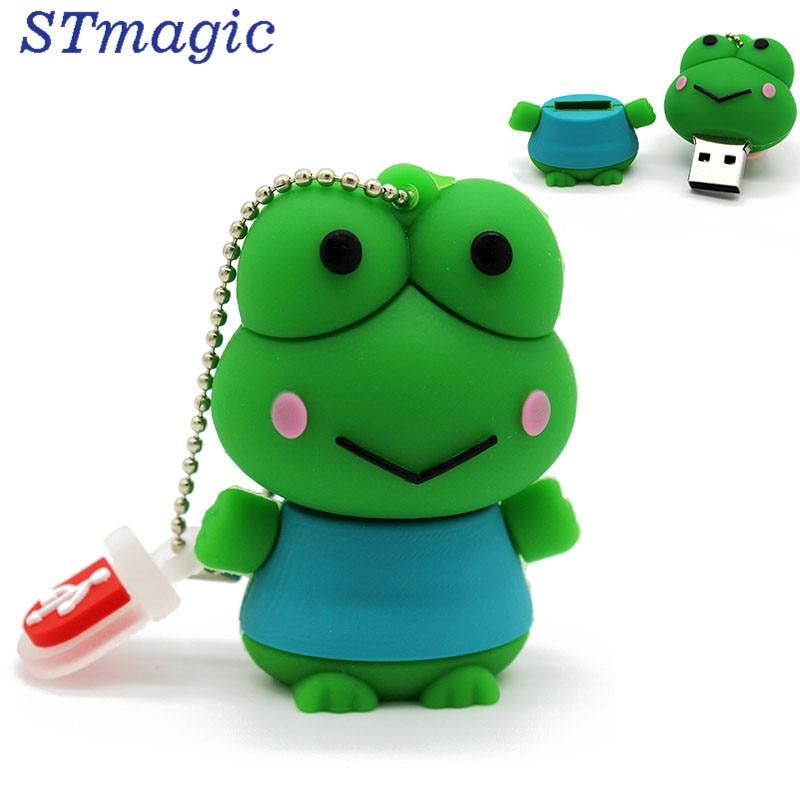 STmagic cute cartoon animal frog usb flash drive 16GB 32GB frog pen drive cute cartoon tortoise style usb 2 0 flash drive green light yellow 16gb