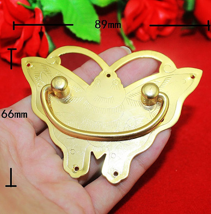 5PCS 89mm*66mm Brass Butterfly Pulls Antique Yellow Furniture Drawer Cabinet Handle Decorative Cupboard closet Door Hardware 2pcs set stainless steel 90 degree self closing cabinet closet door hinges home roomfurniture hardware accessories supply
