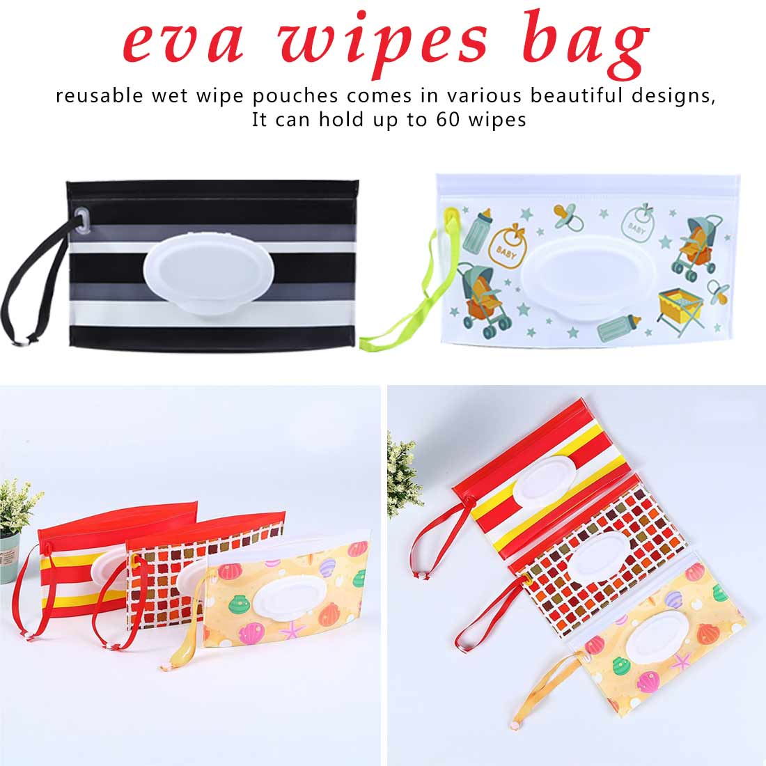 Portable Reusable Refillable Wet Wipes Bag Clamshell Cosmetic Pouch Clutch And Clean Easy-carry Wipes Container Tissue Boxes