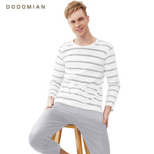 Men Pajama Cotton Gray Striped O-neck Sleepwear Men DODOMIAN Home Clot