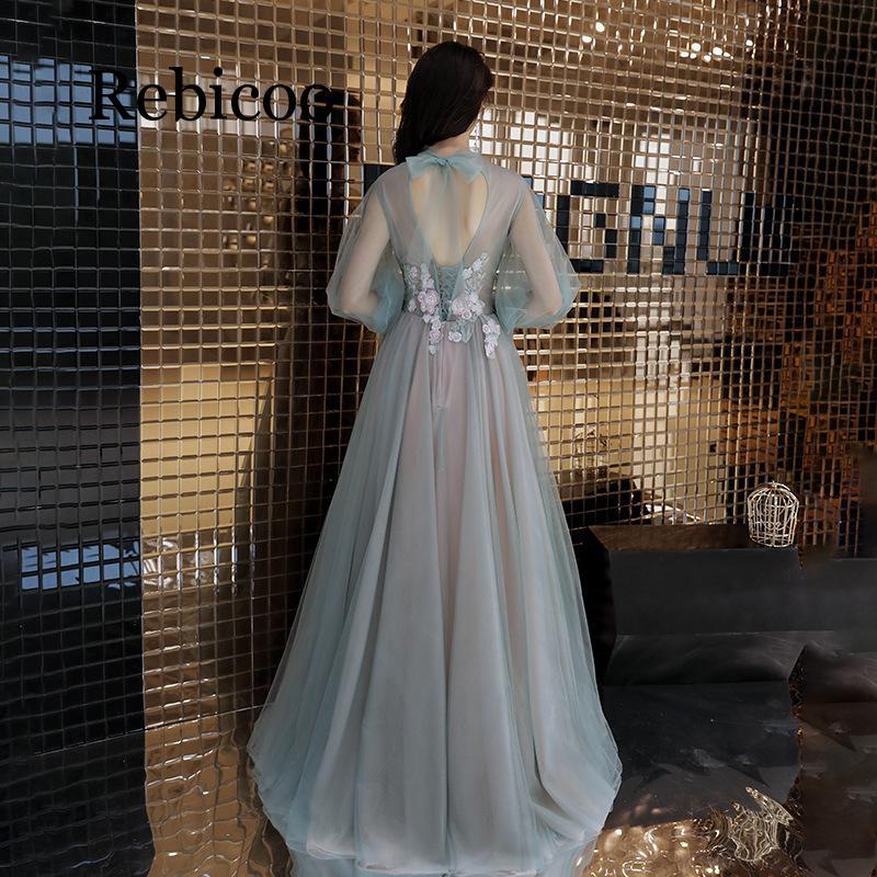 Rebicoo2019 décalcomanie illusion fleur robe formelle noble et élégante sangle dentelle lanterne manches tempérament dames robe