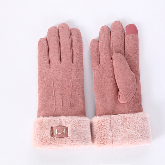 New Winter Female Lace Warm Cashmere Three Ribs Cute Bear Mittens Double thick Plush Wrist Women Touch Screen Driving Gloves 81B 5