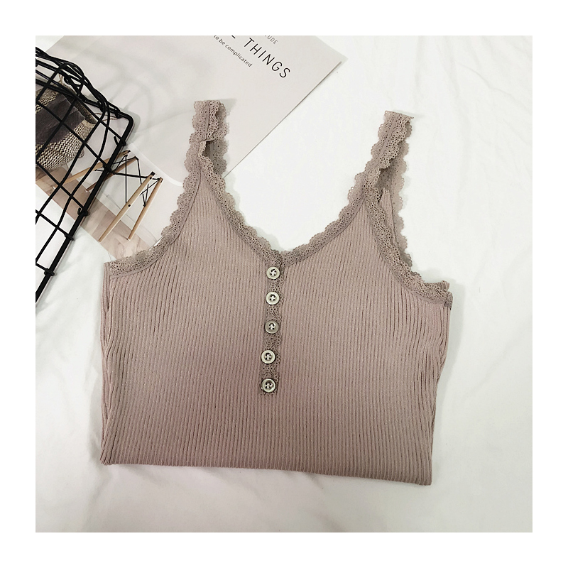 Camis Top summer lace stitching bottom strap camisole female retro chic sexy Crop Top metal button sleeveless Tank Top Women (8)