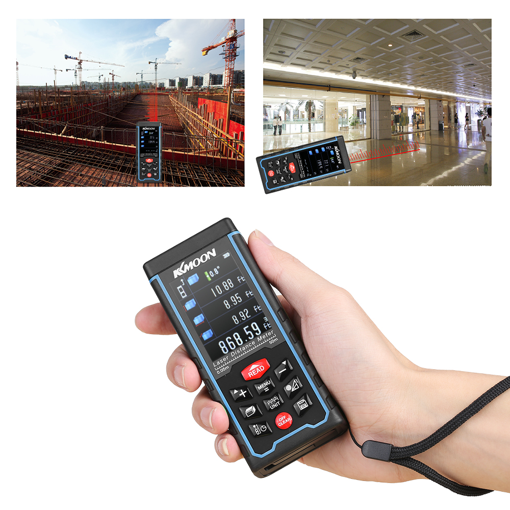 купить KKmoon 70m Portable Handheld Rechargeable Digital Laser Distance Meter Color Display Range Finder  Area Volume Measurement недорого
