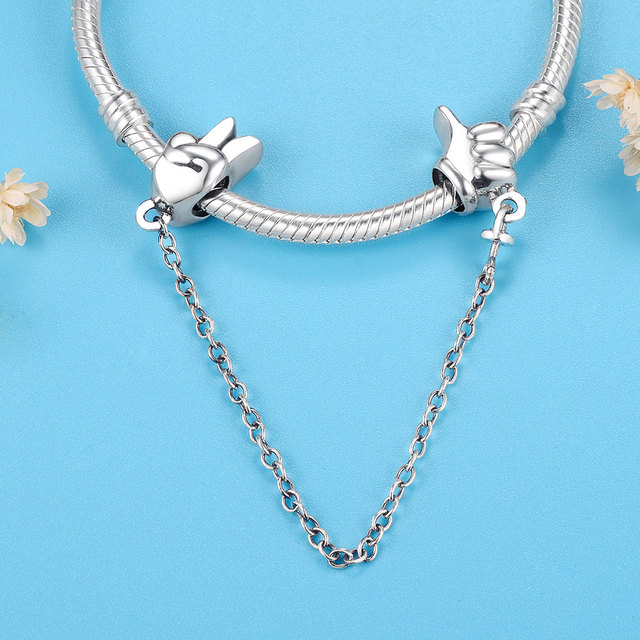 2019 Summer Collection Heart Safety Chain Beads Fit Original Pandora Charms Bracelet 925 Sterling Silver Jewelry Bangle Berloque