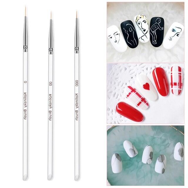 3Pcs/set Kolinsky Gel Nail Art Line Painting Brushes Crystal Acrylic Thin Liner Drawing Pen Nail Art Manicure Tools Set 4