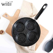 New Induction Cooker Four Hole Frying Pan For Egg Pancake Steak Cooking Pot Non-stick Breakfast Grill Omelette