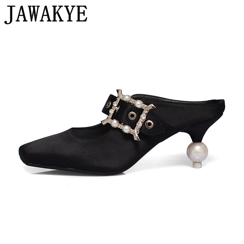 Spring summer High Heels Satin Shoes women crystal pearl decor Mules square Toe Slip-on pumps Women Dress wedding Shoes satin slip sleep dress