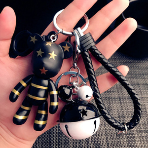 Violent Bear Keychain Small Bell Keyring Trinket Key Ring Cartoon Doll Bear Key Chain Gifts Bag Charm Pendant Sombre Porte Clef(China)