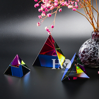 3 Sizes Egypt Egyptian Crystal Glass Pyramid Feng Shui Crystals Craft Ornament Chakra Healing Amulet Home