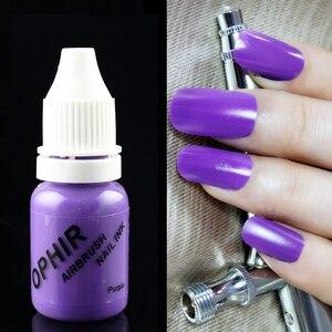 Image 5 - OPHIR 12 色エアブラシ爪インクステンシルジェルネイルポリッシュ 10 ミリリットル/ボトル一時的なタトゥー顔料爪 Tools_TA098 (1 12)