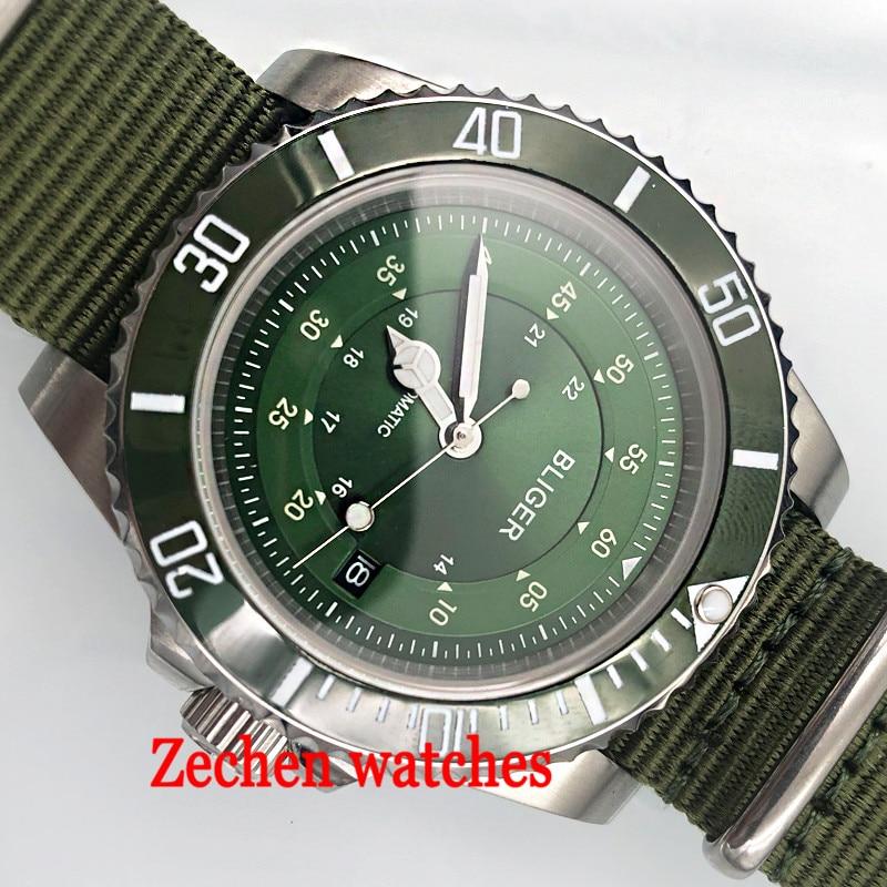 лучшая цена 40mm BLIGER mens watch green dial sapphire crystal Luminous hands automatic movement mens watch black diak sliver case