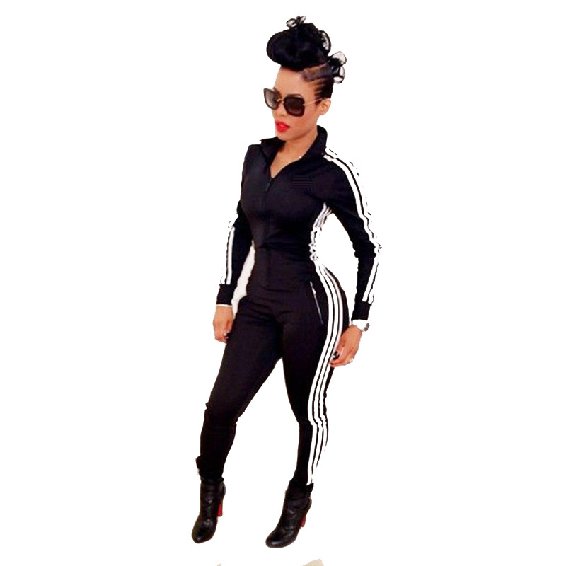 Women Striped Side Zipper Long Jumpsuit Casual Long Sleeve Outfits One Piece Bodycon Rompers 4 Colors Ladies Plus Size Overalls