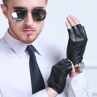Men S Fashion Half Finger Genuine Leather Sheepskin Driving Unlined Thin Glove Women Goat Skin Short