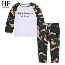 9ab94d37a3302 انه مرحبا التمتع طفل الأولاد ملابس الخريف رياضية الاطفال ملابس الأولاد  مجموعات طويلة الأكمام الطباعة التمويه