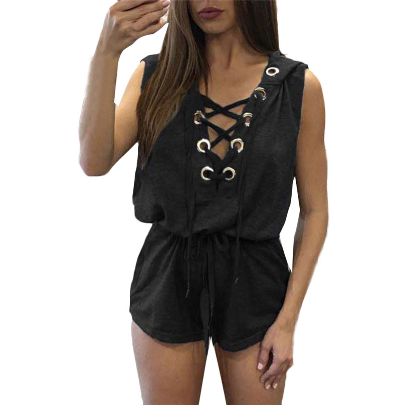 2017 Summer Fashion Women Beach Sleeveless Jumpsuit Loose V Neck With Front Straps Black Jumpsuits rompers With a hat MY23