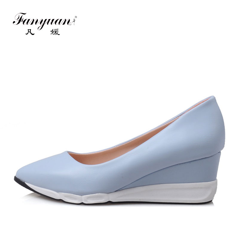Fanyuan 2018 Women pointed toe pumps women fashion comfortable wedges shoes casual Solid color  slip-on ladies dress  PumpsFanyuan 2018 Women pointed toe pumps women fashion comfortable wedges shoes casual Solid color  slip-on ladies dress  Pumps