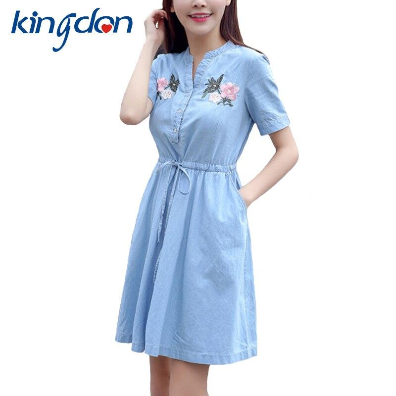 46156fc26c7 Denim Dress Shirt Women 2018 V Neck Sexy Summer Dresses Ladies Casual  Sundress Embroidery Mini Jeans Dresses Female Vestidos