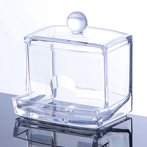 Image 3 - Feiqiong Square Q tips Box Cotton Swabs Holder Cotton Storage Transparent Organizer Box Cosmetic Makeup Case 2019