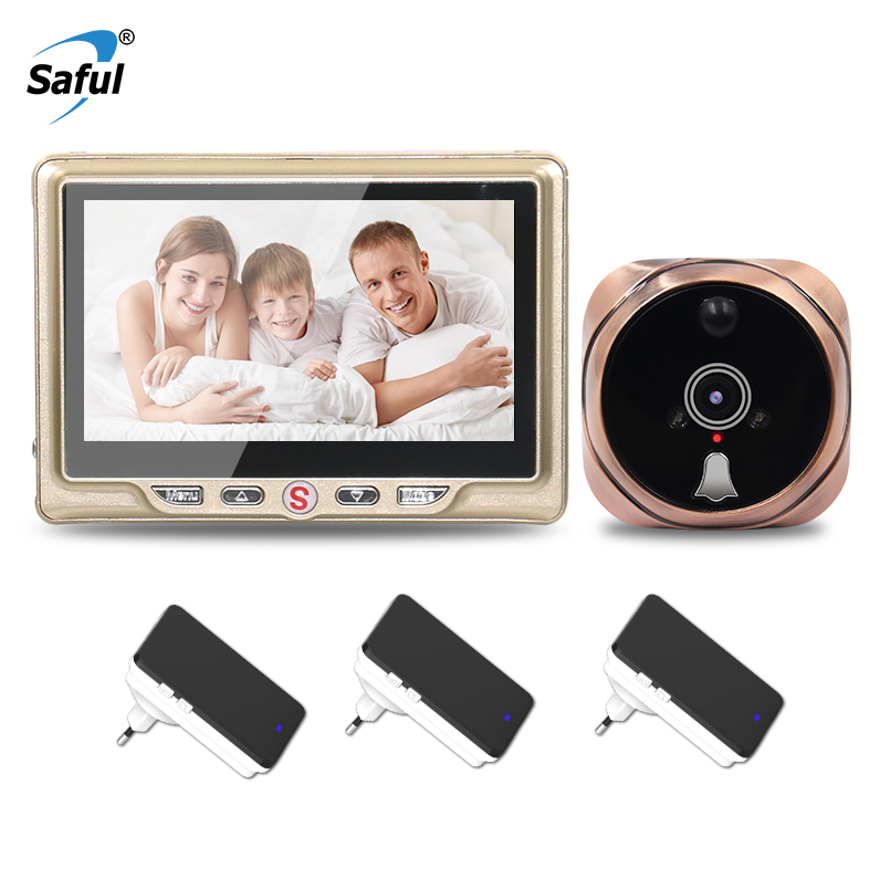 Saful 4.3 inch Digital Door Peephole Camera Call with Motion Detect Video Recording Night Vision+3 Wireless indoor receiver