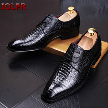 New Arrival Genuine Leather Lace Men Crocodile Pattern Pointed Toe Flats Casual shoes Man Office Shoes Loafers Party Shoes