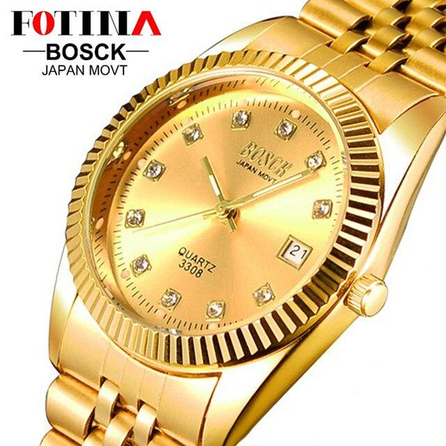 Lujo marca bosck 18 k chapado en oro del reloj mujeres de los hombres de moda de acero inoxidable militar fecha día reloj de cuarzo hombres de negocios relojes