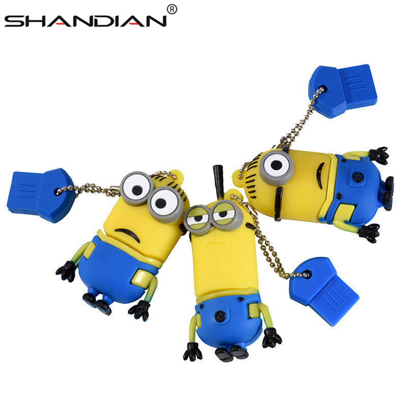 100% Real Capacity New Cartoon Despicable Me 2 Gift USB 2.0 Flash Pen Drive Disk Minions Memory Sticks 8GB16GB 32GB Pendrive