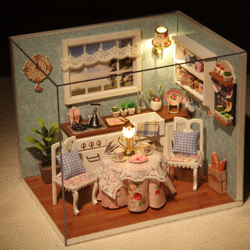 Kids DIY Wooden Doll House Toys Dollhouse Miniature Box Kit Handcraft Dollhouse Kitchen Model Christmas/Birthday Gift diy wooden handcraft miniature provence dollhouse voice activated led light