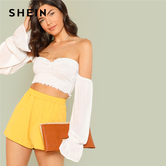 a8a8101b4a75 SHEIN White Vacation Bohemian Beach Flounce Sleeve Shirred Crop Bardot Off  The Shoulder Blouse Summer Women Casual Shirt Top