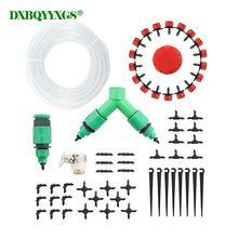 hot deal buy diy drip irrigation system automatic watering garden 4/7mm transparent hose  adjustable red dripper micro drip watering kits