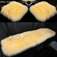 1set Long wool of 6cm length universal Natural GREEN DYE Australian pure sheepskin fur car seat cushion cover
