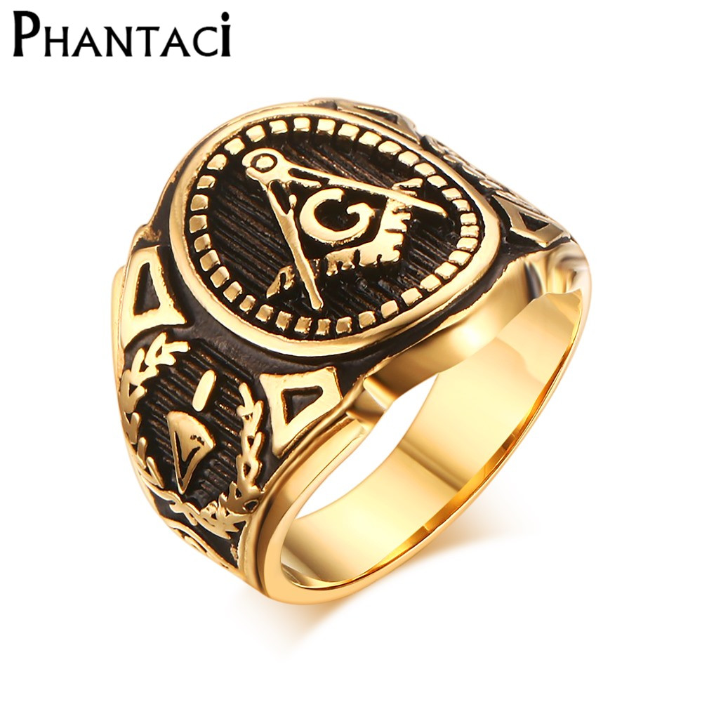 2019 Hot Vintage 316L Stainless Steel Men Ring Gold Free Mason Freemasonry Masonic Male Retro Punk Black Brand Ring Jewelry