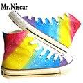 De alta Superior Con Cordones Estilo Mujeres del Arco Iris Zapatos de Lona de la Pintada Gradiente de Colores Pintados A Mano Zapatos Casuales Transpirable Zapato Plano