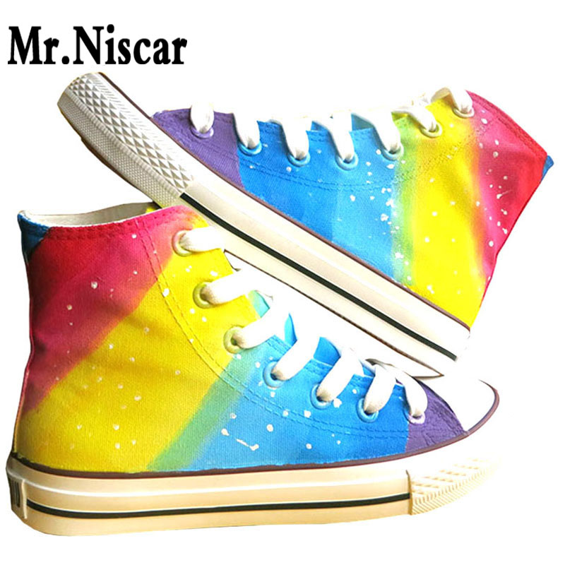 High Top Lace Up Style Women Rainbow Graffiti Canvas Shoes Colorful Gradient Hand Painted Casual Shoes
