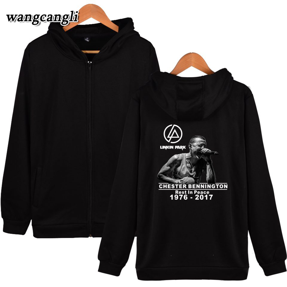 2017 Linkin Park R.I.P Chester Fans Hooded Woman Hoodies Zipper Hiphop Sweatshirt Cotton Casual Clothes 4XL linkin park hoodies