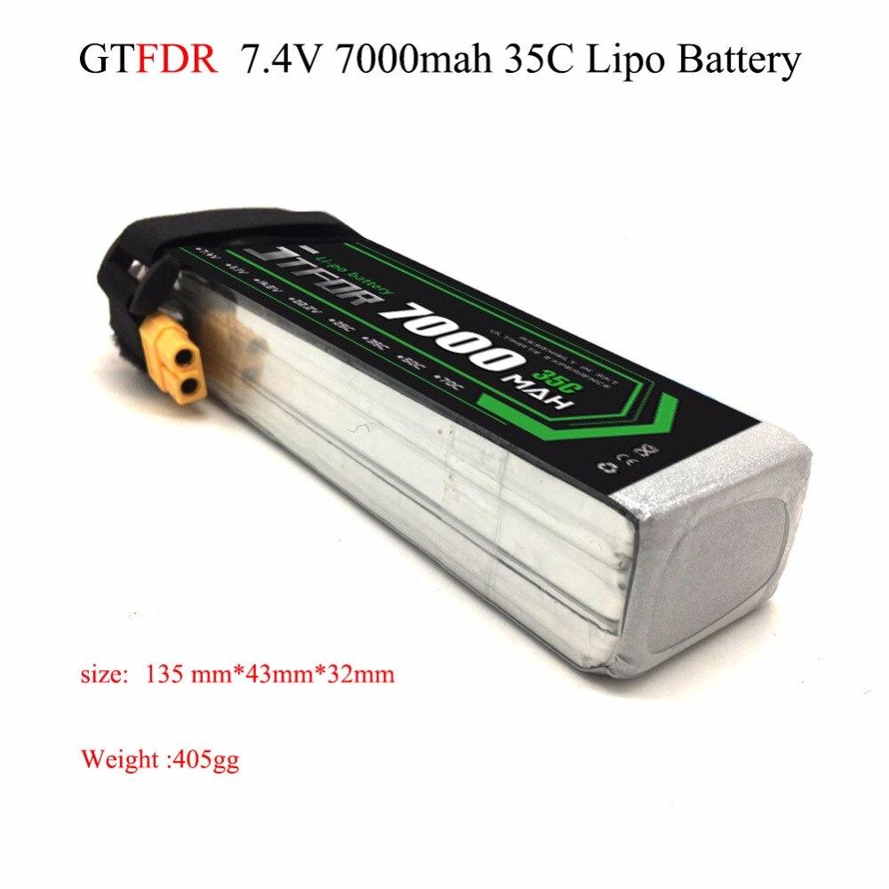 GTFDR bonne qualité 7.4 V 7000 mAh 2 S Lipo batterie 35C Max60C pour RC avion hélicoptère Quadrotor AKKU voiture camion bateau RC drone