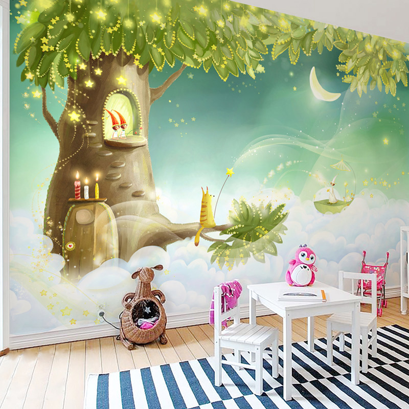 Custom 3D Photo Wallpaper For Kids Room Cartoon Green Tree House Moon Children Room Bedroom Decor Wall Mural Removable Sticker