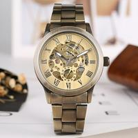 Retro Bronze Tone Mechanical Watch for Men Automatic self winding Mechanical Watch for Teenagers Business Watches Gift for Boys